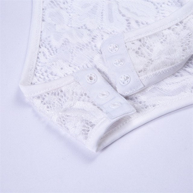 9654ff1cc29 Bodysuit Women Winter White Lace Jumpsuit Women Elegante Rompers Solid Long  Sleeve See Through Playsuits 2018
