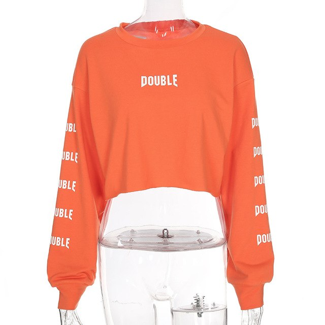 953a019de4f56 Cropped Long Sleeve Hoodie Women Cropped Orange Letter Print Loose  Sweatshirt Pullovers 2018 Streetwear O-neck Hoodies