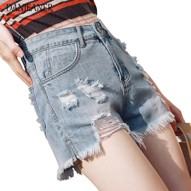 cd3988dfc 2018 Bf Summer Wind Blue High Waist Denim Shorts Women Washes Hole Tassel Jeans  Shorts