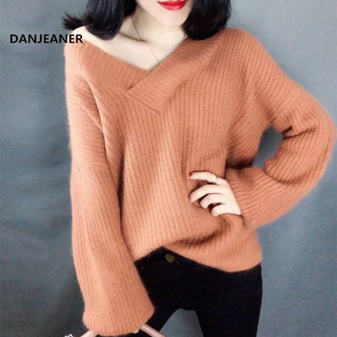 d4c823a99b Lazy Wind Sweaters Women Off Shoulder V Neck Moisture Knitted Pullovers  Solid Slim Fit Streetwear Knitting ...