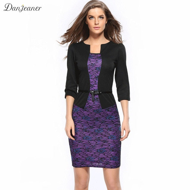 S-3Xl Women Office Pencil Dress Plus Size Faux Jacket One-Piece Bodycon  Dresses Vestidos Patchwork Workwear