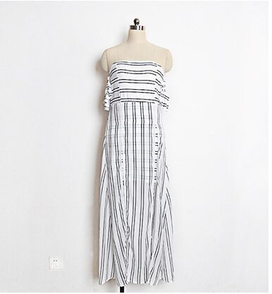 Strapless White Striped Maxi Dress Women Plus Size Casual Long Beach  Dresses High Split Irregular Dress