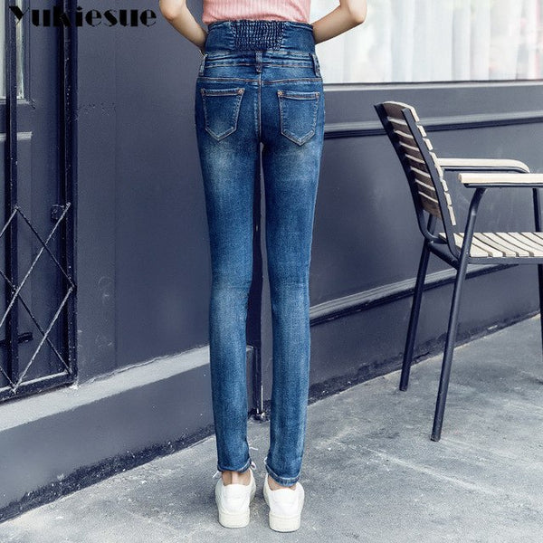 a08561c7d87 Denim Mom Jeans Woman With High Waist Stretch Plus Size Pencil Pants J –  Hdy Apparel