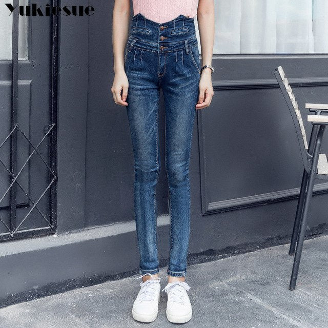 8e1a70dc586 Denim Mom Jeans Woman With High Waist Stretch Plus Size Pencil Pants Jeans  Winter Women S Pants