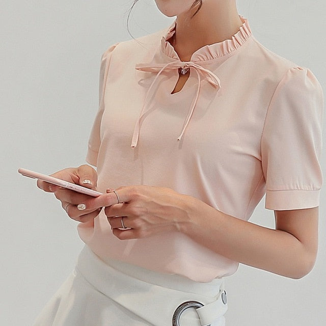 71031c635c8ab7 Efinny Summer Stand Collar Ruffled Lace Women Blouse Top Puff Sleeve Blouses  Ol Work S-