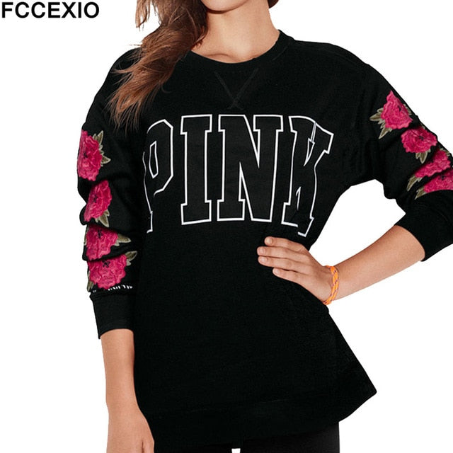 16f197c82c3384 2019 Women Pink Love T Shirt Autumn Casual T-Shirt Tops Flower Leaves Letter  Print