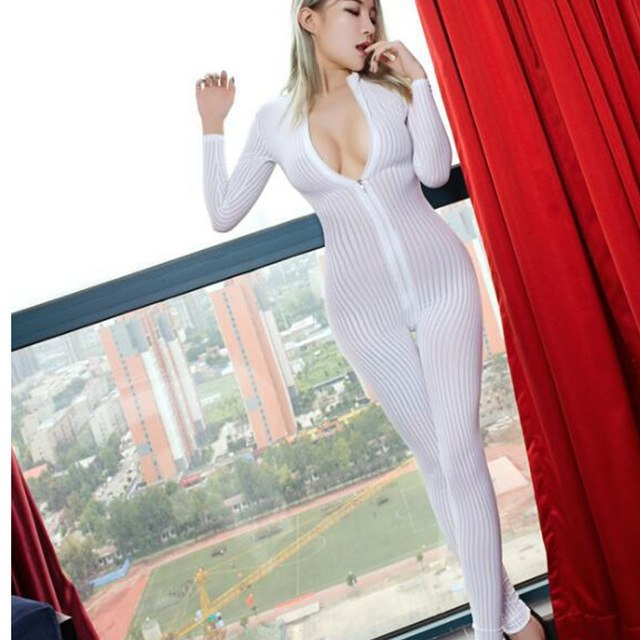 5ae0904888 Dame Black Striped Sheer Bodysuit Smooth Fiber 2 Zipper Long Sleeve  Jumpsuit Women Love Game Jumpsuits & Rompers
