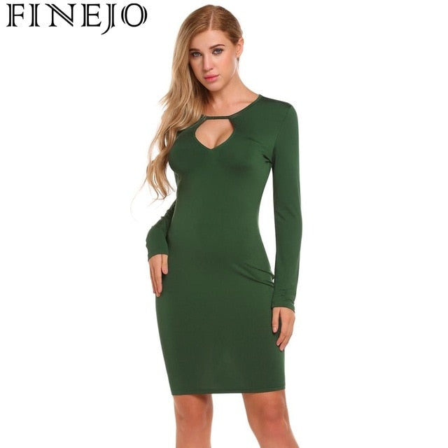 88b5eb62dfc Autumn Winter Pencil Dress Women Slim Fit Long Sleeve Backless Bodycon  Pencil Party Dresses Casual Vestidos