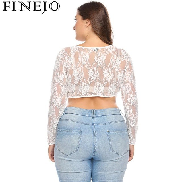 c755a281cf850 Floral V-Neck Long Sleeve See-Through Women Lace Slim Fit Crop Top Plus Size