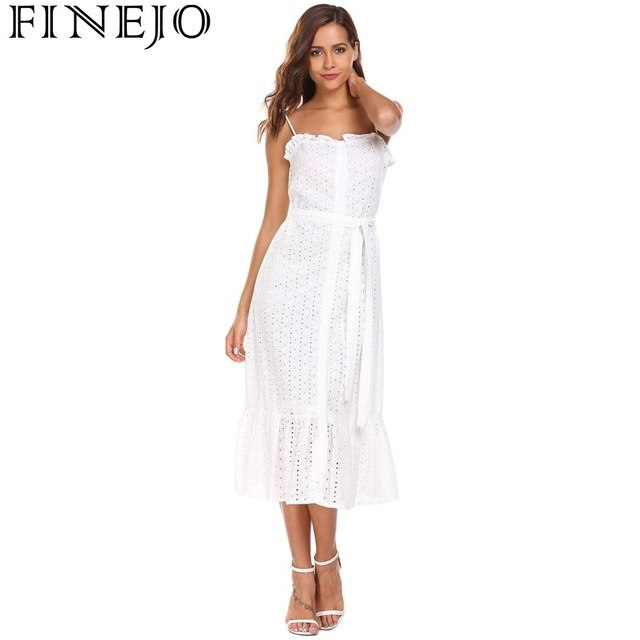 37dd37228b4 Dress Women Strappy Hollow Out Belted Ruffled Button Down Beach Dress Black  White Vestidos