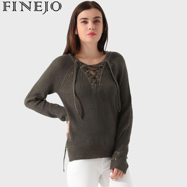 Sweater Women Autumn 2018 Casual Hip Spring Irregular Solid Long Sleeve Pullover  Lace Hem Natural Sweaters a12731f20