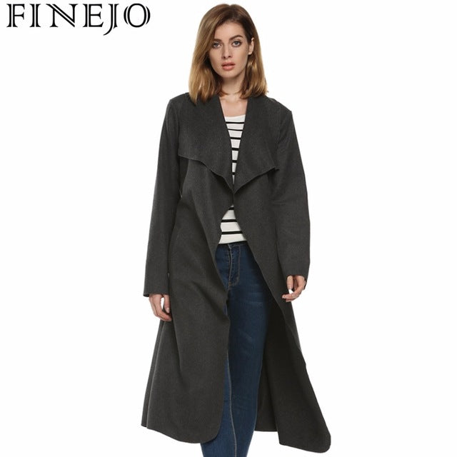 24e27d27a Women Autumn Winter Long Wool Trench Coat With Belt Vintage Casual Turn  Down Collar Solid Woolen Trench Coats