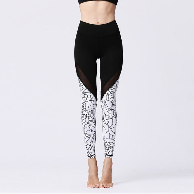 94006566ae5dd0 Printed Patchwork Women Mesh Fitness Leggings Breathable Sporting Dry Quick  Pants Squat Not Transparent Squat Leggings