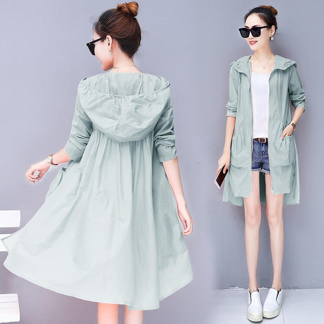 8fc9c2d2b770 Summer Ultra-Thin Loose Trench Coat Hooded Long Cardigan Beach Trench Coats  Plus Size 3Xl