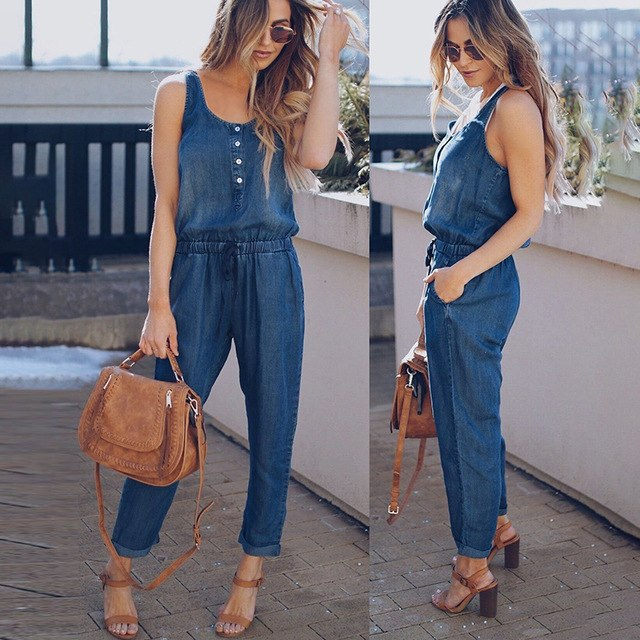 21e1fb29ae Women Casual Sleeveless Jeans Jumpsuit Solid O-Neck Denim Rompers Loose  Button Sashes High Waist Playsuits Overalls