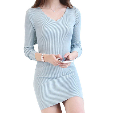 Women Knitted Dress Autumn Office Pencil Sweater Dress Long Sleeve Vintage  Bodycon Winter Dress Party Dresses ... 23a76bbefc6f