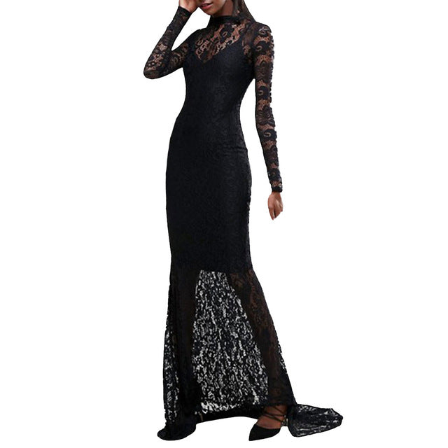351d4e9afb Women Backless Lace Dress Black With Lace Patchwork Long Sleeve Slim Party Maxi  Dresses