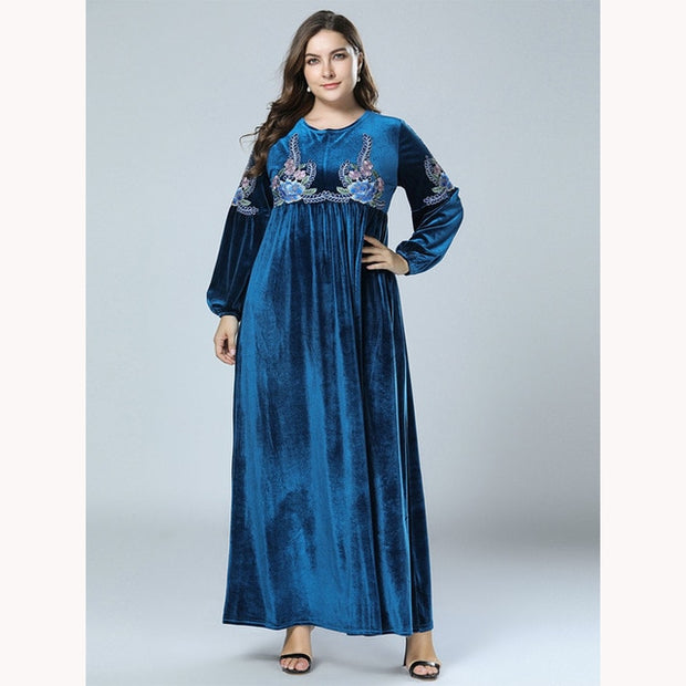 Fat Sister Plus Size 4 vintage ethnic embroidered maxi dress drawstring  design T shirt long Dress winter 2018 Urban Casual