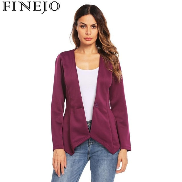 19852c2bbe23c Slim Fit Irregular Casual Office Blazer Women V-Neck One Button Solid  Spring Autumn Blazer Coat Casaco Feminino