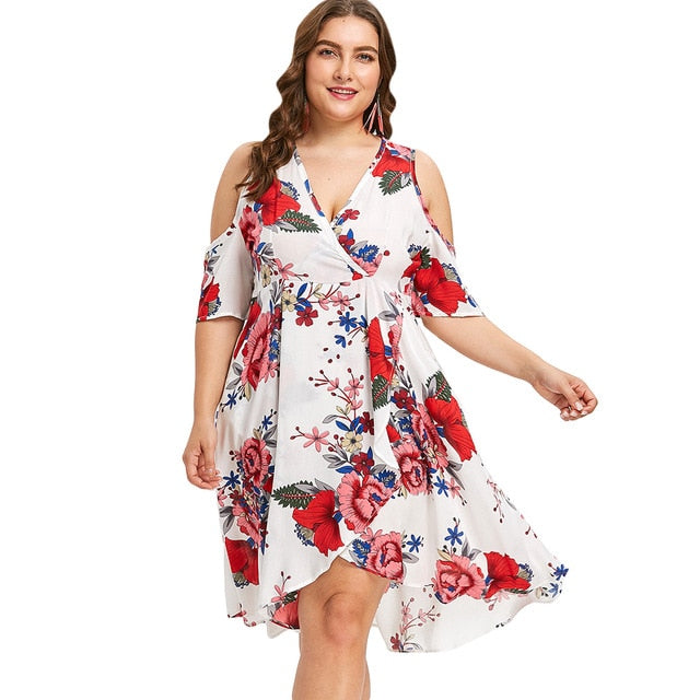 Floral Print Dress Summer V-Neck Half Sleeve Dress Women ...