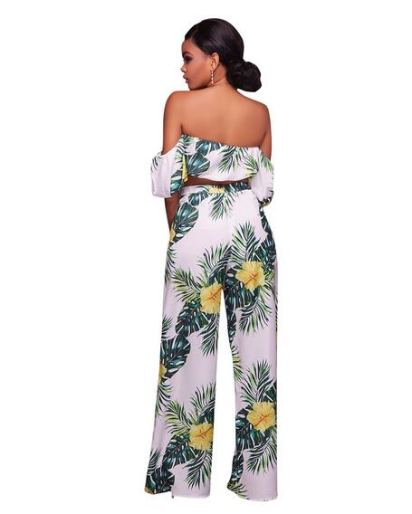 87811334d81b61 Floral Print Two Piece Pants Set Women Strapless Crop Top and Wide Leg Pant  Sets Boho