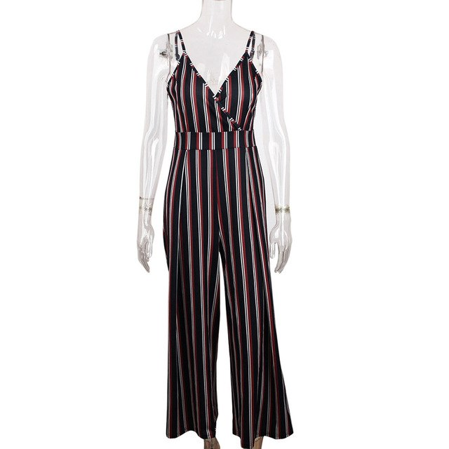 6251047598295f Women Striped V Neck Strappy Jumpsuit Wide Leg Pants Sleeveless Backless  Jumpsuits 80608 Drop Shipping