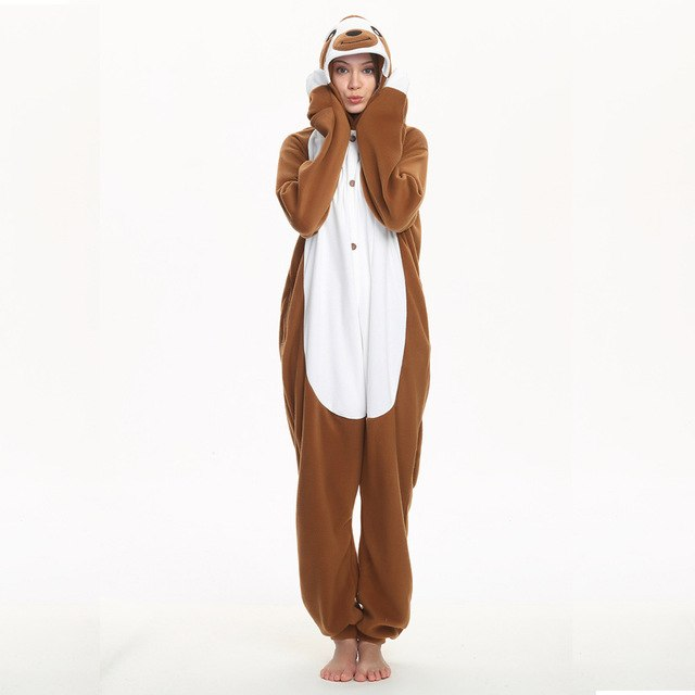 e2825278a876 Funny Animal Onesie Adult Sloth Pajamas Kigurumi Cartoon Jumpsuit Women  Overalls Sleepwear Winter Outfit Polar Fleece Cosplay