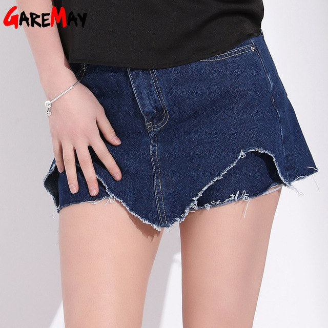3f10fff04f1 Denim Shorts Feminino High Waist Plus Size Skirt Shorts Woman Mini Jeans  Irregular Summer Short Femme