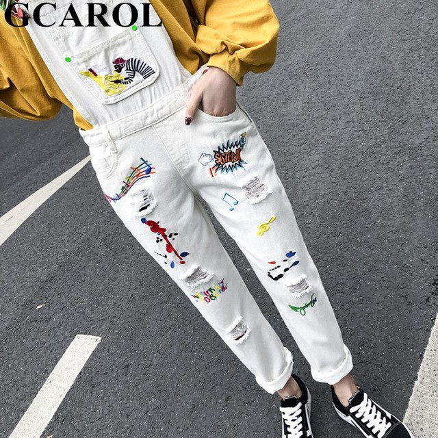 2019 Spring Summer Women Retro Old Jumpsuits Embroidered Ripped