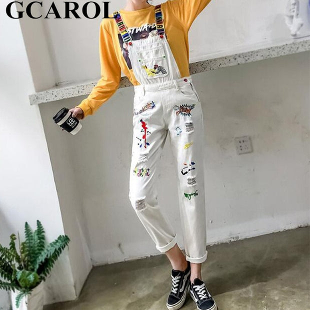 2019 Spring Summer Women Retro Old Jumpsuits Embroidered Ripped Rompers  Cute Sweet Preppy Streewear Overalls