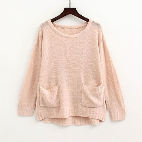 Casual Thin Sweater Women Pullover Knitted Pocket Long Sleeve Blue Sweater  Women\u0027S Jumper Ladies Sweaters
