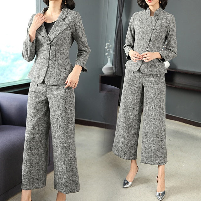 b08c8370933e3 Gray 2 piece set women outfits pants suits elegant noble outfits co-ord set  autumn winter autumn office work clothing vintage