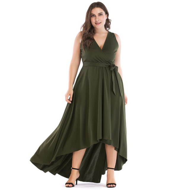 1f49ddf700 Green Asymmetrical Maxi Dress Women Oversize High Low Tunic Belted Deep V  Neck Dress Plus Size Party Gowns