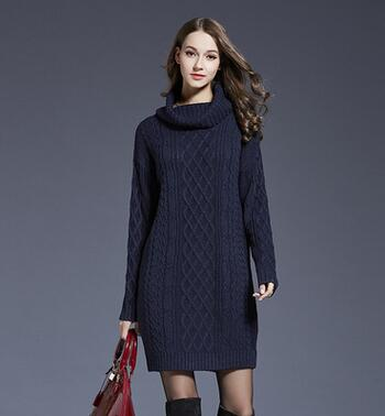 61e9b66f527  Guoran  Vintage Women Winter Sweater Dress Black Blue Knitted Long Sweaters  Turtleneck Long Knitted