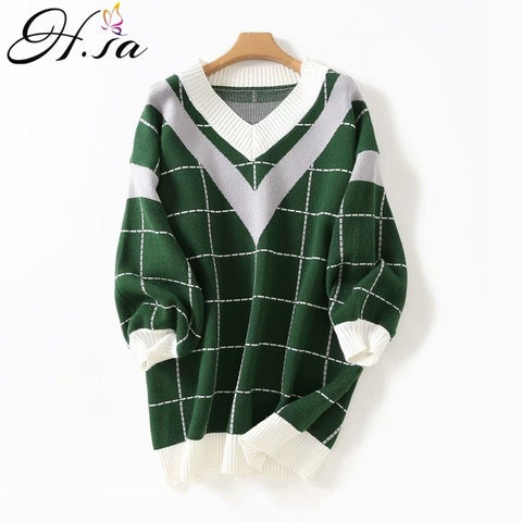 ea791c27364 ... 2018 Autumn Women Sweater Dress V Neck Loose Sweater Pullover Jumpers  Patchwork Plaid Long Sweaters Roupas