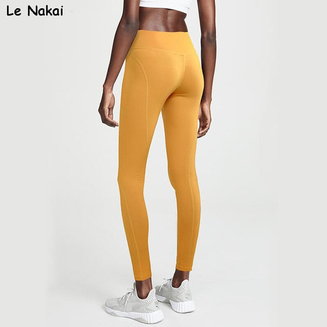 52a5aa99ec High Wasted Yellow Yoga Pants Booty Scrunch Workout Gym Tights Energy  Sports Fitness Power Flex Legging Nylon Leggings