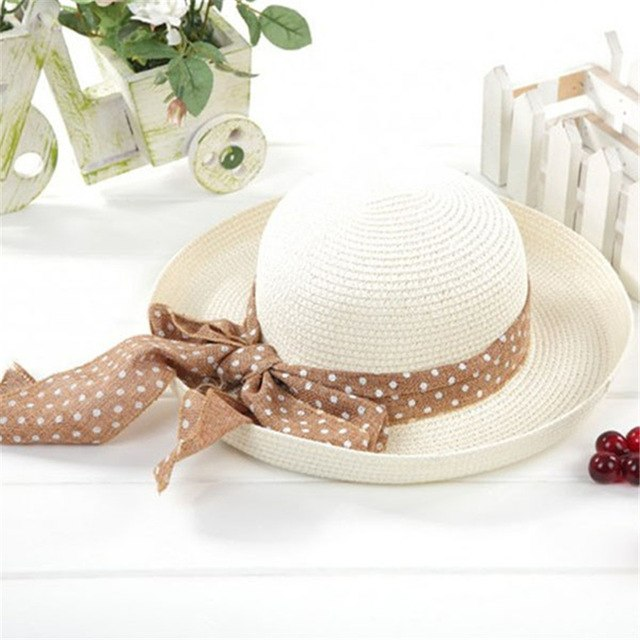 8523644c9 Women Big Bowknot Straw Hat Travel Panama Cap Beach Hat Fedora Summer Uv  Hats
