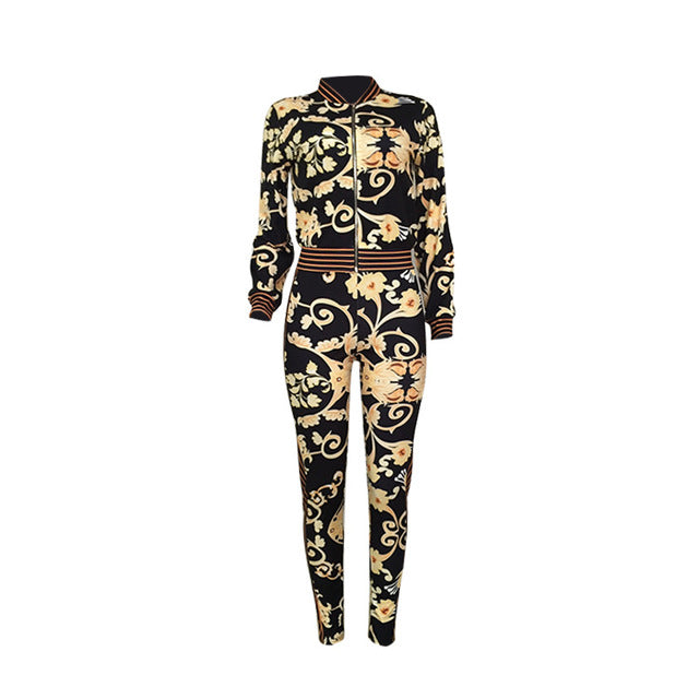 57fc54063d8f Women tracksuits 2018 Autumn New Arrivals coats and pants track suits two  pieces set outfits flower