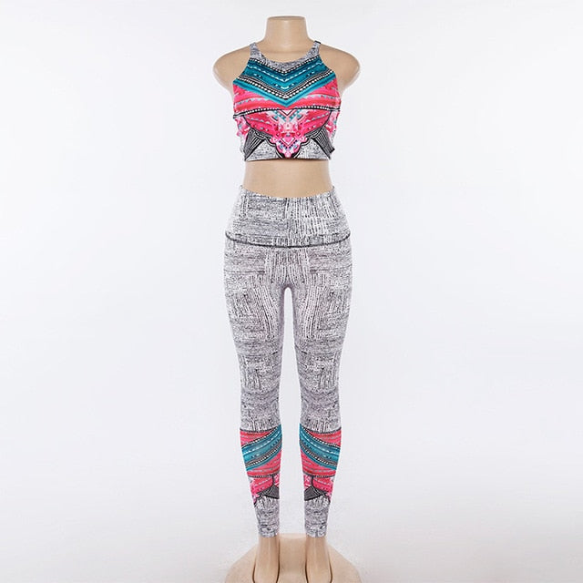 7165af00f3cb3 Knitting Digital Print Sporting Women Sets Tracksuit Cross Backless Crop  Tops High Waist Leggings 2 Pieces