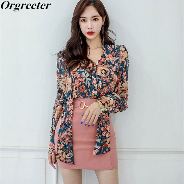 3ad2be0e03ad Korean Fashion 2 Piece Sets Womens Fall Office Lady Floral Print Single  Breasted Bow Tie up Shirt and Pink Mini Skirt Outfits