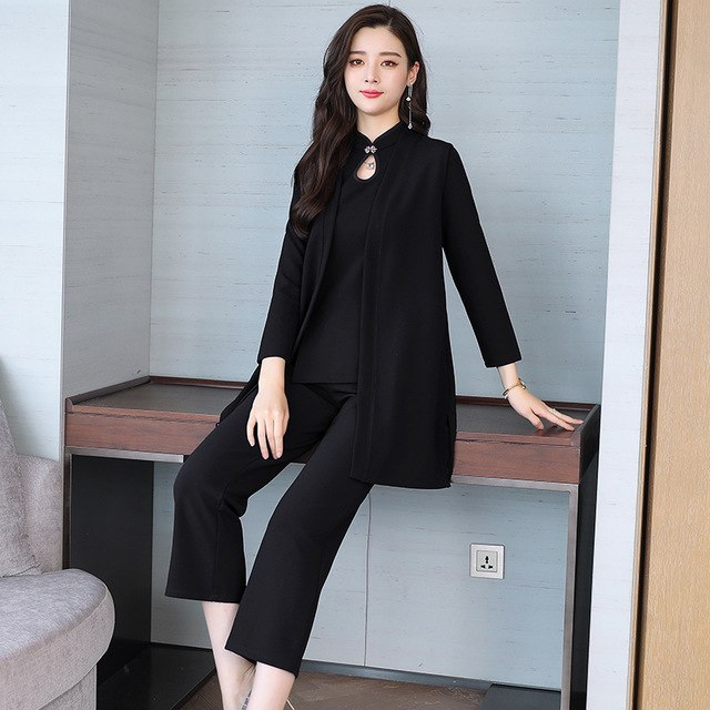 77ed87c05a Korean Fashion Long-Sleeved Coat Shirt & Wide-Legged Pants Suit 2018 Fall  New Three-Piece Clothing Set Leisure Outfit Women