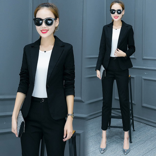 019fde112f349 Korean Fashion OL Autumn Women Outfit New Blazer Pants Two-Piece Slim Suit  Women'S 2 Piece Set Brand Design Quality Costume Sets