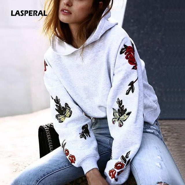 7bdb0875bb866 2018 Spring Fashion Butterfly Roses Floral Print Women Hoodies Sweatshirt  Long Sleeve Pullovers Harajuku Sudadera Mujer