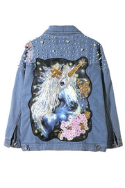 Pearl Dotted Unicorn Patch Denim Jacket Women Tearing Hole