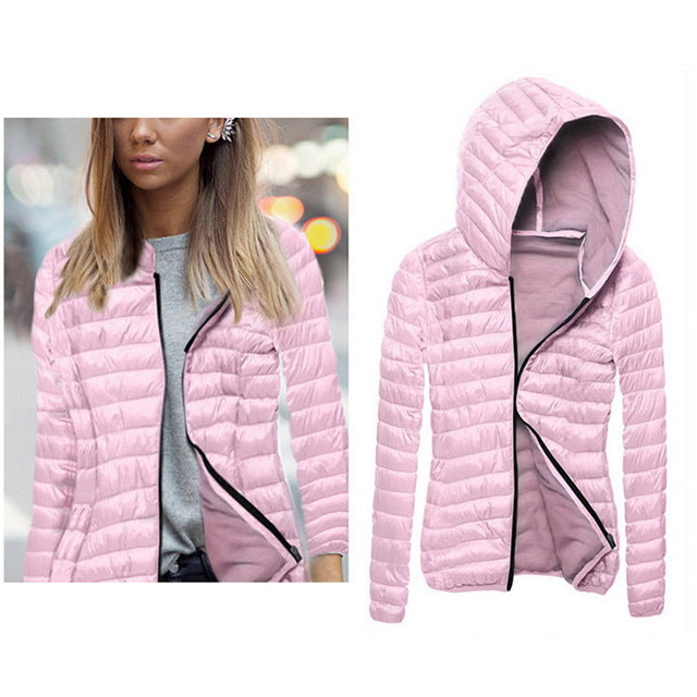 4bacd8473adc Winter Jacket Women Autumn Hooded Coat Female Spring Jacket Womens Padded  Cotton Parkas Casual Thin Light Basic Jackets