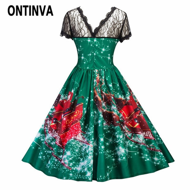 Christmas Ball Gowns Plus Size.Ladies Christmas Claus Dress Lace Patchwork Women Long Ball