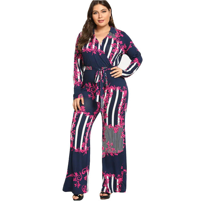 52d1c03bf761 Ladies 3D Printing Jumpsuit V-Neck Plus Size Long-Sleeved High Waist Tie  Wide