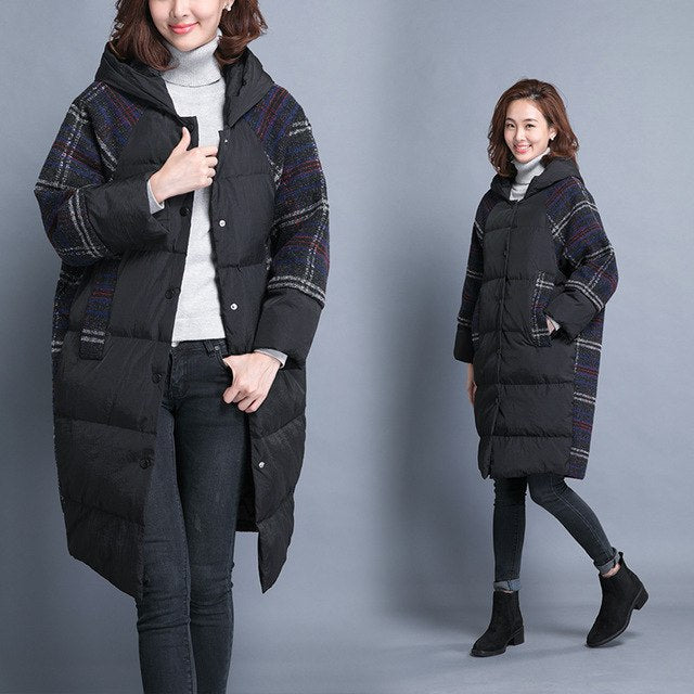 59a297f1625 Long winter jackets womens 2018 fashion thicken warm hooded down jacket  coat female loose down parkas