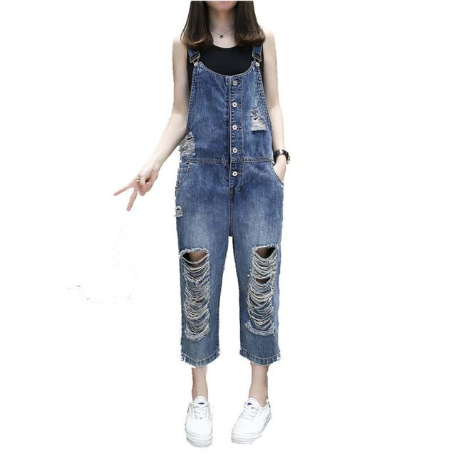 0a22629a33e Loose Hole Ripped Jeans Vaqueros Mujer Denim Jumpsuit Spring Summer Rompers  Casual Jeans Femme Women Overalls