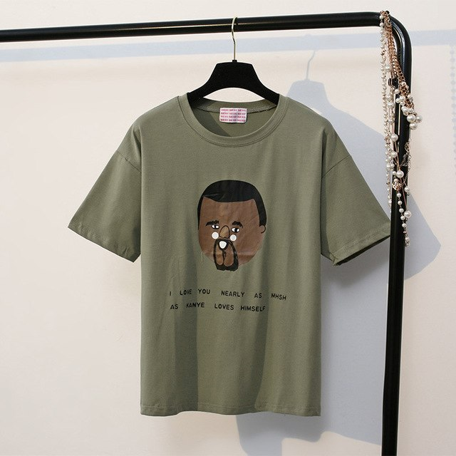 ed0e3792e6a5 Summer Army Green Women T-Shirts Character Letter Printed Short Sleeve O-Neck  Cotton Tops Casual Loose Tshirt